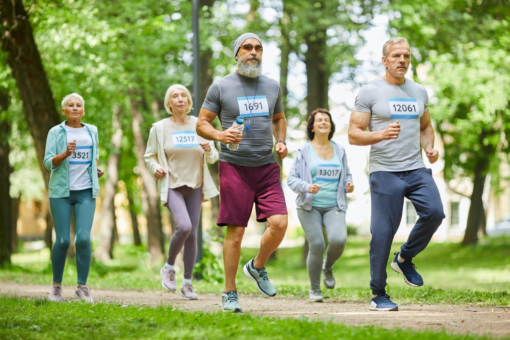 Modern Seniors Running Marathon Race